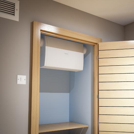 Nuaire flatmaster in cupboard